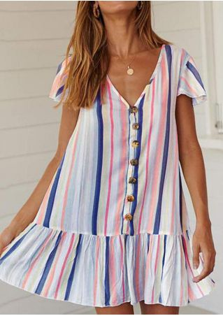 Striped V-Neck Mini Dress without Necklace - Blue