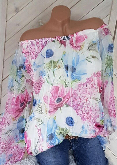 Floral Off Shoulder Blouse - Pink