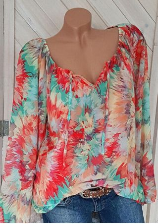 Tie Dye Tie Long Sleeve Blouse - Red