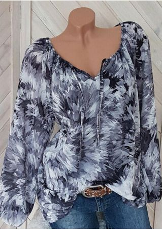 Tie Dye Tie Long Sleeve Blouse - Gray