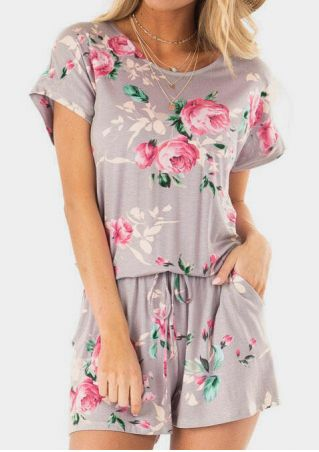 Floral Drawstring Pocket Romper without Necklace - Gray