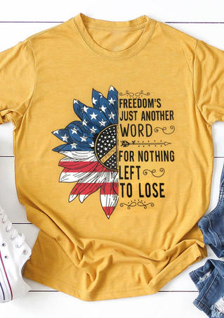 Sunflower Freedom's Just Another Word T-Shirt Tee - Yellow