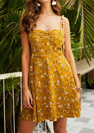 Floral Spaghetti Strap Dress without Necklace - Yellow