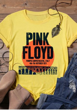 Pink Floyd O-Neck T-Shirt Tee - Yellow