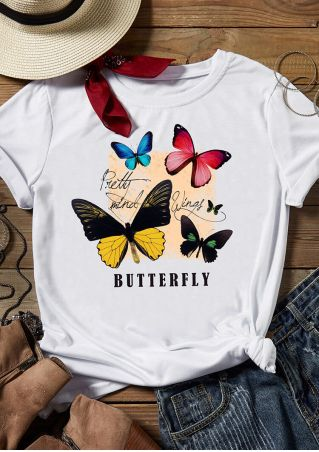 Butterfly O-Neck T-Shirt Tee - White