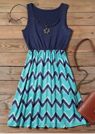 Zigzag Printed Fashion Mini Dress