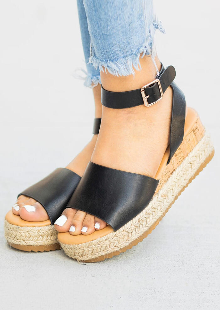 Ankle Strap Espadrille Wedge Sandals - Black