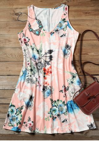 Floral V-Neck Mini Dress without Necklace - Pink