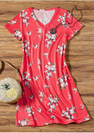 Floral V-Neck Short Sleeves Mini Dress - Red