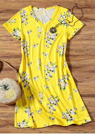 Floral V-Neck Short Sleeve Mini Dress - Yellow