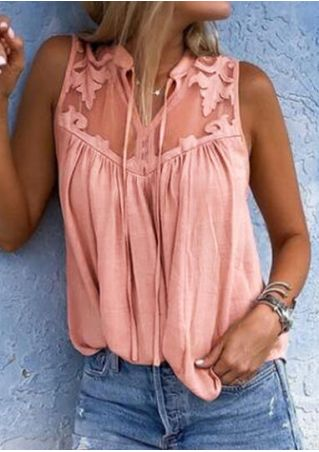Solid Lace Floral Splicing Tank - Pink