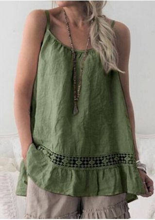 Soild Lace Splicing Camisole without Necklace - Army Green