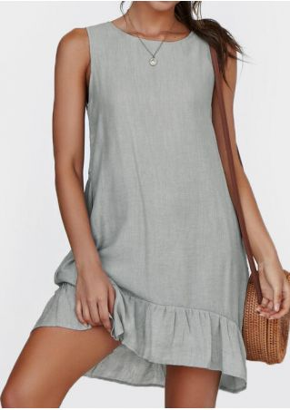 Solid Ruffled Sleeveless Mini Dress without Necklace - Gray