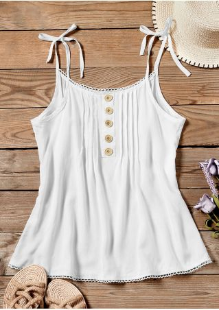 Solid Button O-Neck Camisole without Necklace - White