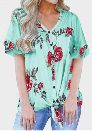 Floral V-Neck Tie Ruffled Blouse - Light Green