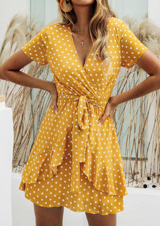 Polka Dot Layered Mini Dress without Necklace - Yellow