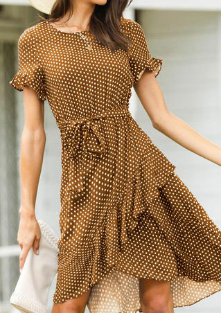 Polka Dot Irregular Mini Dress without Necklace - Brown