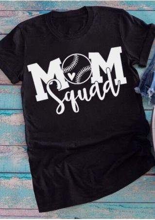 Mom Squad O-Neck T-Shirt Tee - Black