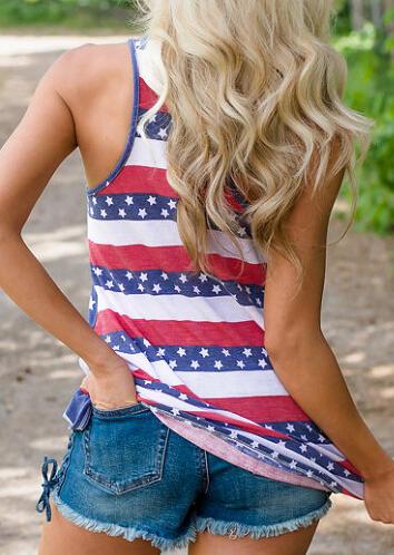 Star American Flag Printed Pocket Tank - Blue