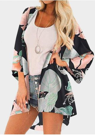 Leaf Printed Cardigan without Necklace - Multicolor