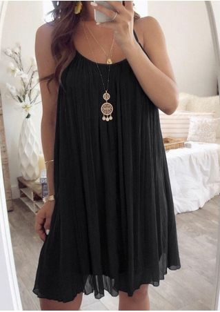 Solid Sleeveless Mini Dress without Necklace - Black