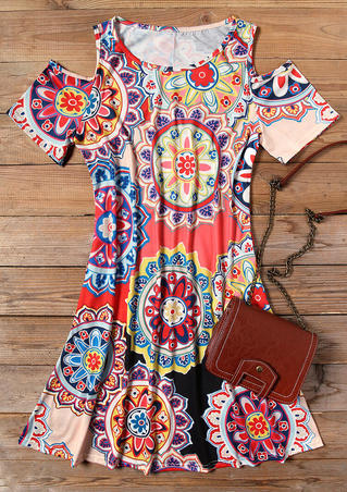 Mandala Cold Shoulder Mini Dress without Necklace - Multicolor