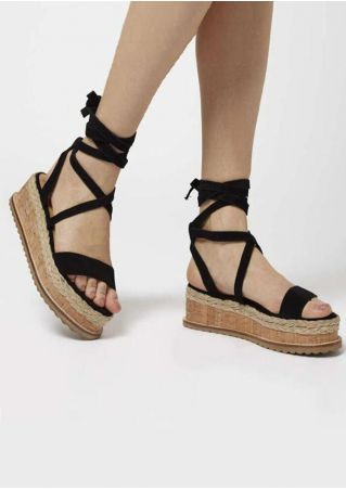 Solid Ankle Wrap Wedge Sandals - Black