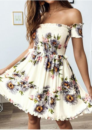 Floral Off Shoulder Mini Dress - Beige