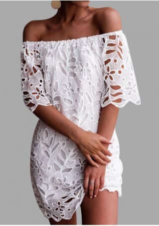 Solid Lace Floral Off Shoulder Mini Dress - White