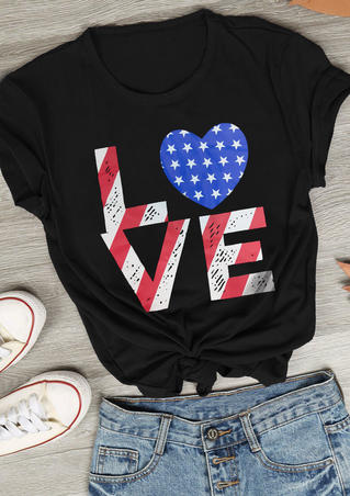 Love Heart O-Neck T-Shirt Tee - Black