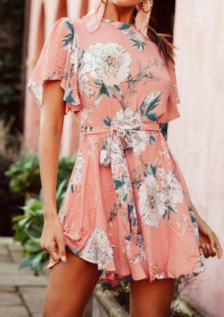 Floral Flare Sleeve Mini Dress - Pink