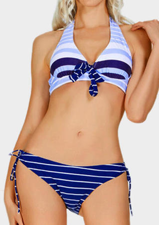 Striped Bowknot Halter Bikini Set - Blue