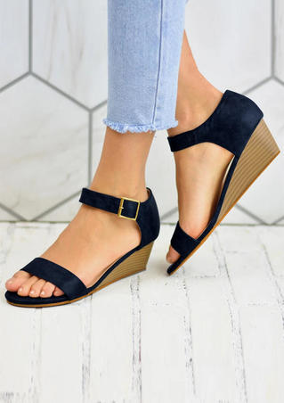 Round Toe Buckle Wedges Sandals - Deep Blue