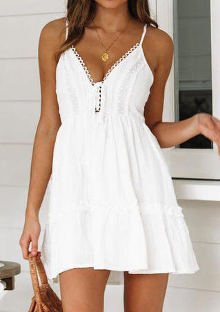 Solid Tie Spaghetti Strap Mini Dress without Necklace - White