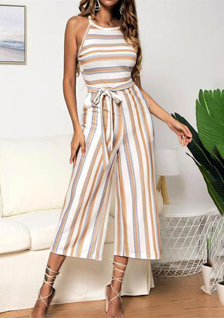 Striped Pocket Sleeveless Jumpsuit - Khaki