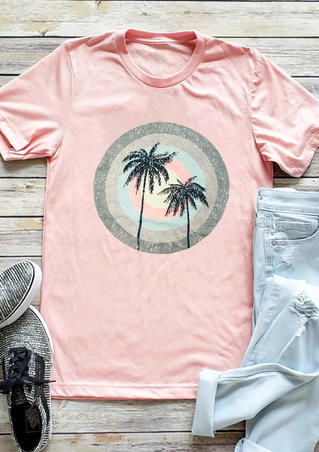 Rainbow Tree O-Neck T-Shirt Tee - LightPink