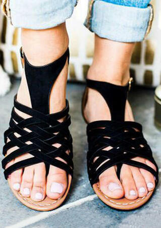 Solid Criss-Cross Buckle Strap Sandals - Black