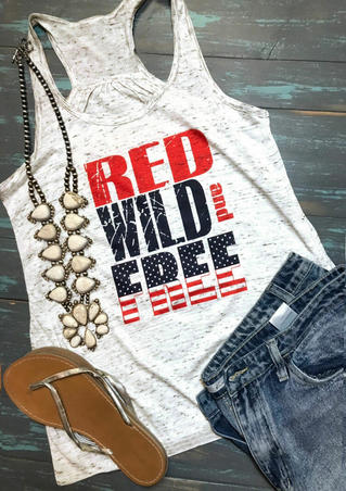 Red Wild And Free Tank - White