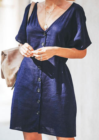 Solid Button V-Neck Mini Dress without Necklace - Navy Blue