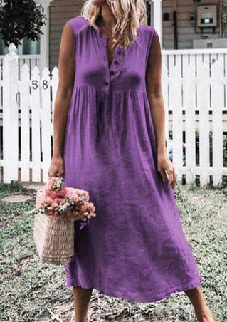 Solid Button Deep V-Neck Casual Dress - Purple