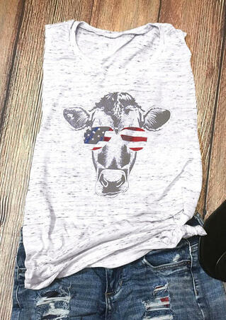 Cattle American Flag Glasses Tank - Light Grey