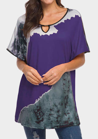 Hollow Out Batwing Sleeve Blouse - Purple