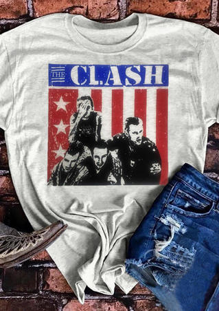 American Flag The Clash T-Shirt Tee - Light Grey