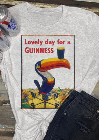 Lovely Day For A Guinness T-Shirt Tee - Light Grey