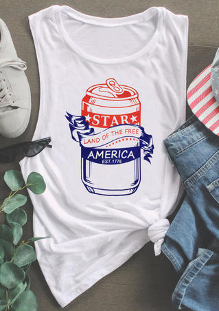 Star Land Of The Free America Tank - White