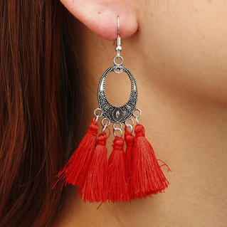 Tassel Splicing Earrings - Red