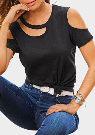 Solid Cold Shoulder O-Neck Blouse - Black
