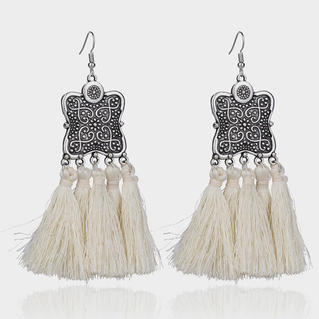 Tassel Splicing Fashion Earrings - White