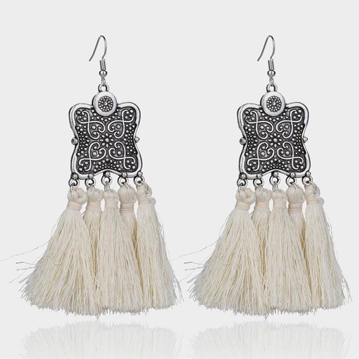 Tassel Splicing Fashion Earrings - White