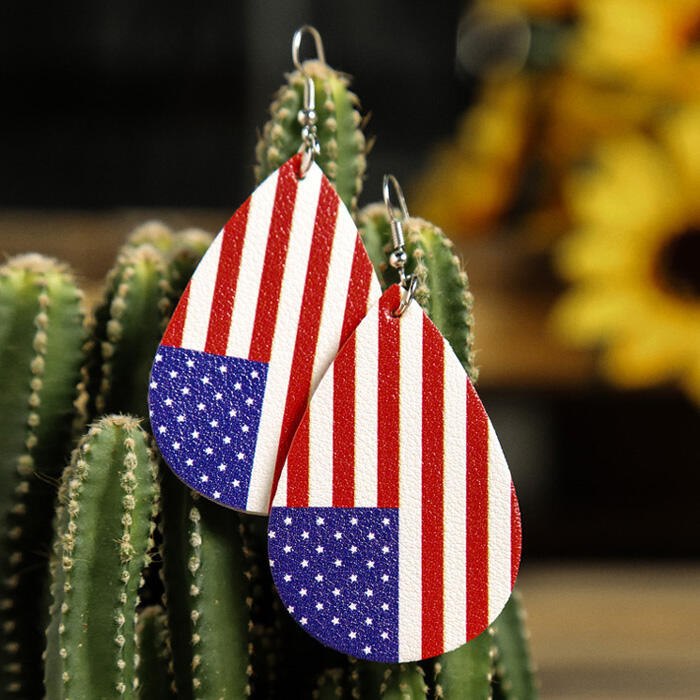 American Flag Printed Earrings - Red